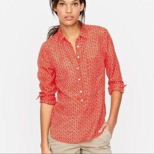 J. Crew printed Cotton silk popover shirt